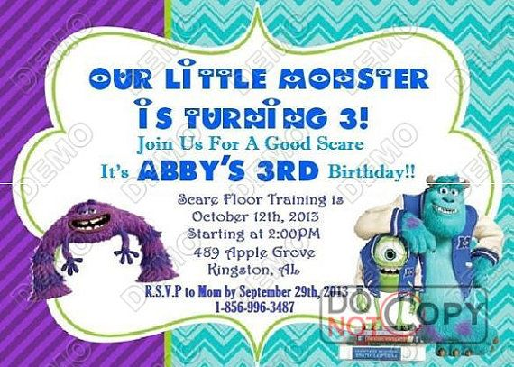 Monsters University Personalized Invitation by MadeFromTheHeartxo