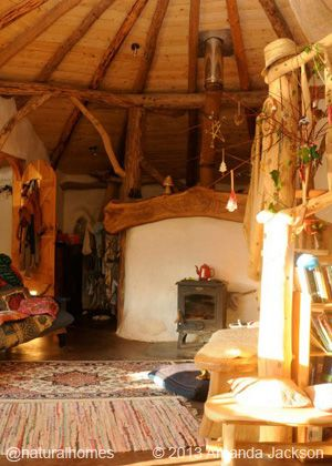 This beautiful home was built by Charlie for his young family right next door to the Lammas ecoVillage in Wales. You can see the building stages of this straw bale house and some interior pictures at www.naturalhomes.org/strawbale-roundhouse.htm