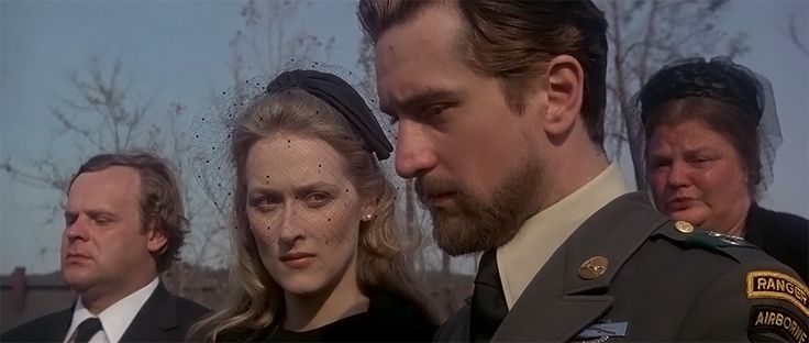 The Deer Hunter (1978) ... Meryl Streep and Robert De Niro ... Pennsylvania foundry town of Clairton, during the late 1960s, Russian-American steel workers Michael (Robert De Niro), Steven (John Savage), Nick (Christopher Walken), Stanley (John Cazale), John (George Dzundza), and Axel (Chuck Aspegren) are preparing for two rites of passage: the marriage of one and military service for three of them.
