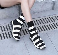 fashion Striped Knitwear Knitted Sock shoes Casual Socks Women's Sports Sock sport shoes Comfortable breathable sock sneakers