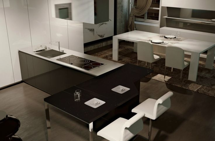 Kitchen Designs:A Cool Kitchen Design With An E Xpansive Breakfast Bar Gorgeously Minimum Kitchens with Ideal Organization