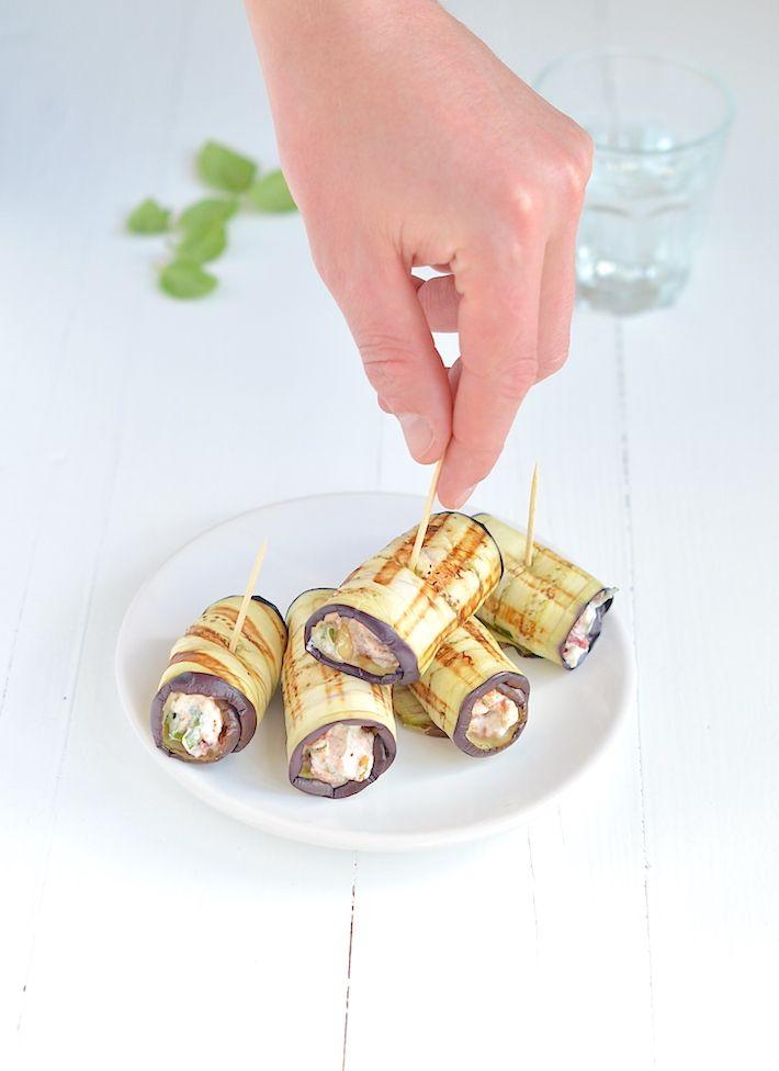 Superlekker en gezond hapje, auberginerolletjes met ricotavulling. Mmmm - Uit Pauline's Keuken