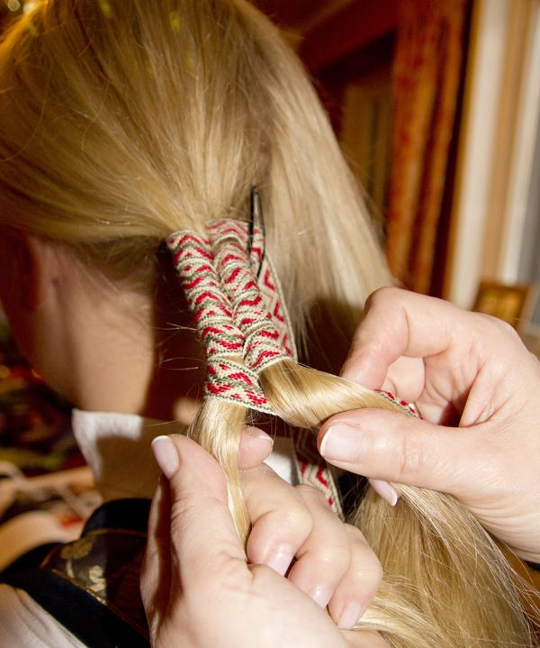 Woven Costume Bands from Valdres in the Hair