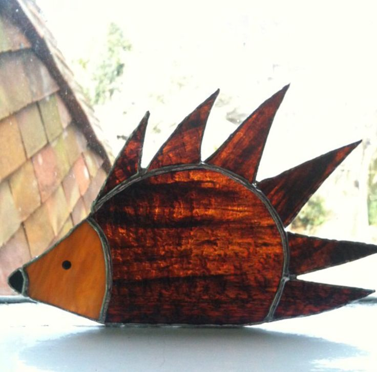 Copper foil stained glass hedgehog