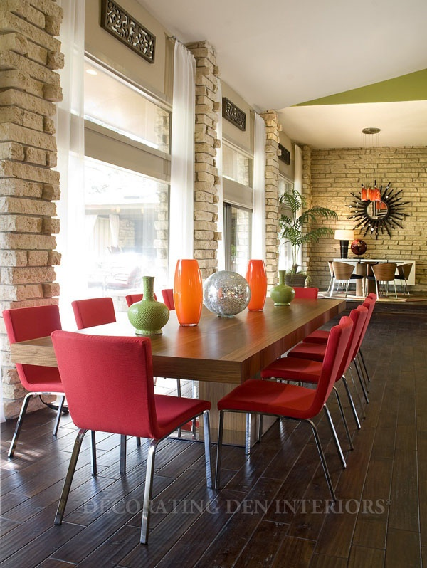 Both the dining suite in front and the one at the rear have a retro feel.