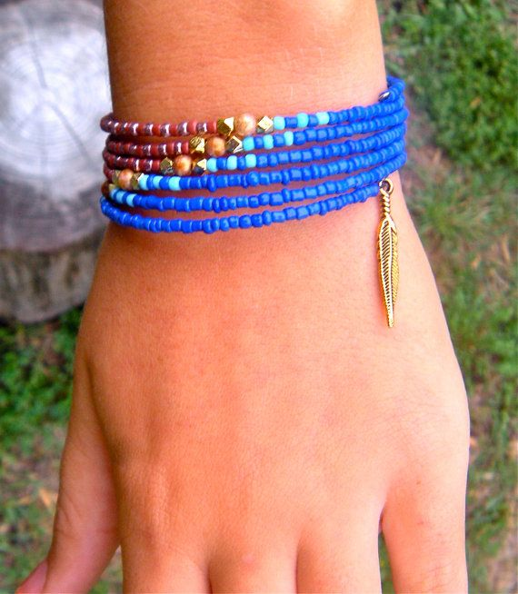 Elegant Seed Bead Memory Wire Bracelet, Earthy, Gold, Feather, Blue Bracelet on Etsy