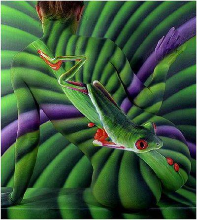 .body painting green illustration