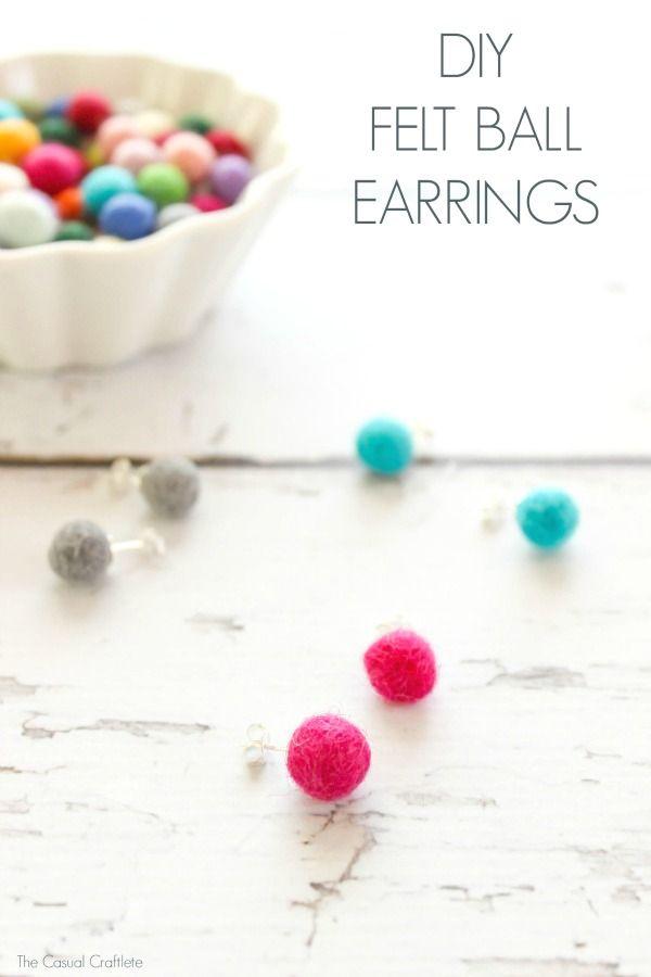 DIY Felt Ball Earrings. Inexpensive ...