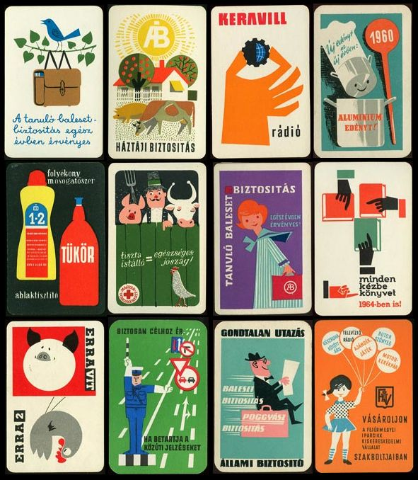 Mid century pocket calendars from Hungary. Loads more at the link!