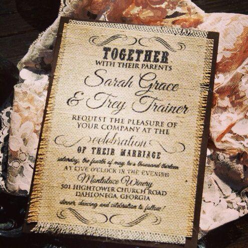 Burlap Wedding Invitation LaceyNOT A SAMPLE by HelloLoveWeddings