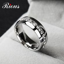 2015 Classic zircon Australia crystal stainless Steel Rings Fashion Jewelry Engagement Wedding Gift finger Rings Eternity  R2002(China (Mainland))