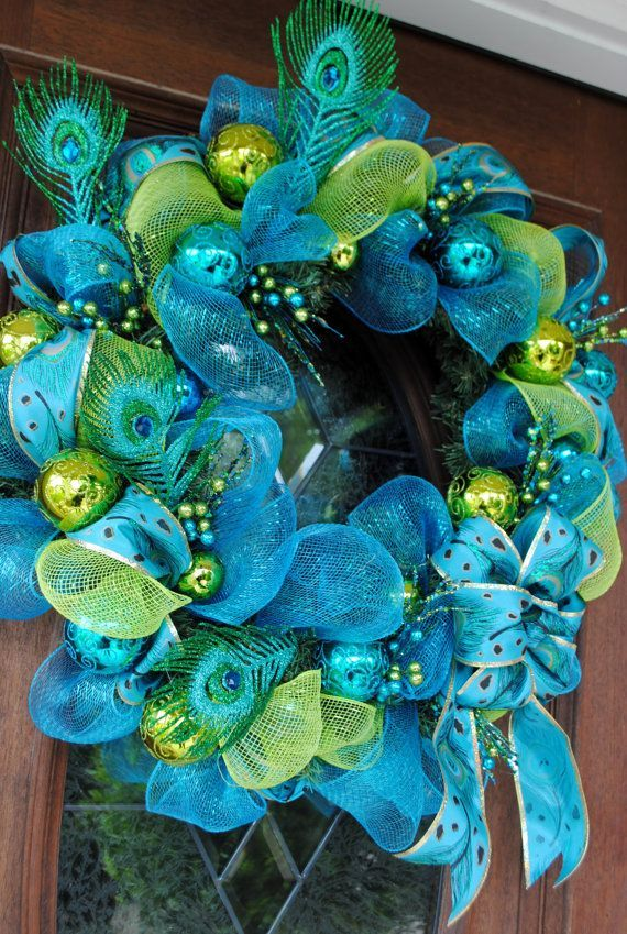 Perfect Peacock Christmas Wreath by MrsFielderCrafts on Etsy, $60.00: