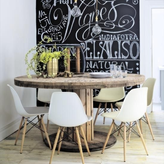 Dining table and chalkboard wall | Modern industrial kitchen | makeover | PHOTO GALLERY | Ideal Home | Housetohome.co.uk