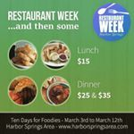 #HarborSprings Area #Restaurant Week is Friday, March 3rd to Sunday, March 12th. Breakfast and Lunch Specials for $15, Dinner Specials for $25 and $35.   Menus: www.harborspringsarea.com