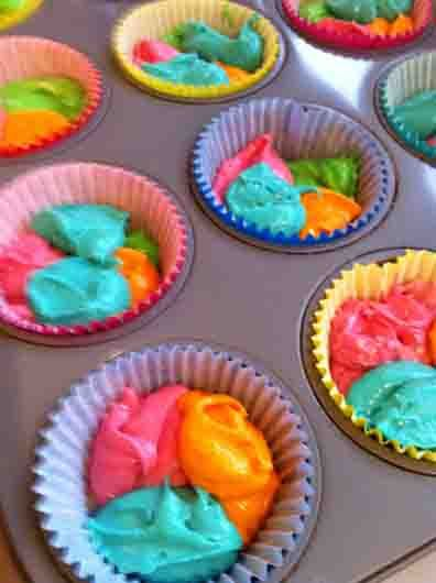 "When I asked R (3) what he would like to do today, his response was immediate and loud - ""MAKE CUPCAKES!"" Ok then! When it came time to decide what colour they should be, the response was a little ..."