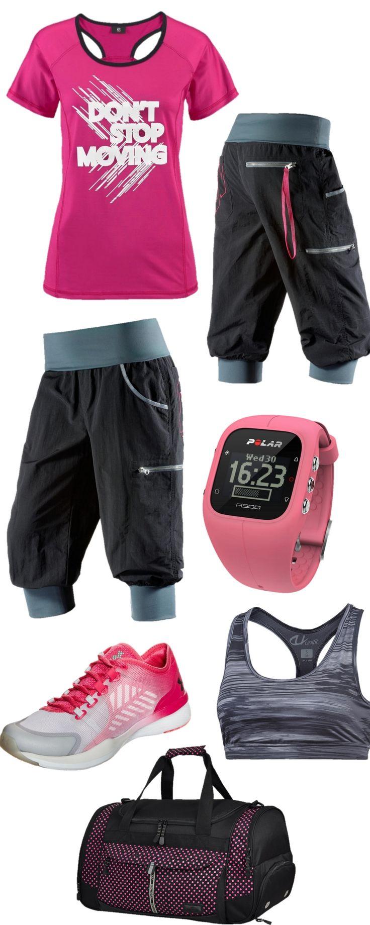 """Fitness Outfit für Frauen: Dieses Outfit ist ideal für den Kursbesuch in Ihrem Fitness-Studio oder Verein: Das Fitness-Shirt liefert nicht nur Motivation (""""Don't stop moving"""") sondern ist auch atmungsaktiv und sorgt dafür, dass Ihre Haut trocken ist. Die Hose ist locker und lässig geschnitten. Ihre Füße und Gelenke werden durch die Trainingsschuhe von Under Armour geschützt – die spezielle Dämpfung und Stützfunktion machen dies möglich. Sie sind außerdem langlebig. Der Sport-BH passt unter…"""