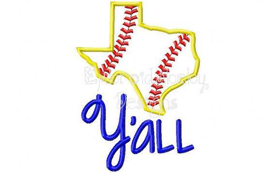 Texas Baseball/ Softball Y'all Machine by EmbroidababyDesigns