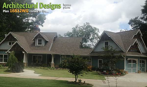 Plan 16812wg rustic look with detached garage house for Low country house plans with detached garage