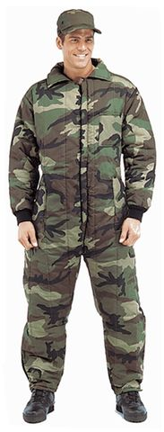 The Woodland Camo Cold Weather Insulated Coveralls are made with a tough poly/cotton twill outershell. with a nylon lining, insulated with a 6 oz. poly themoblock fiber fill. The Woodland Camo Insulated Coveralls also features knit cuffs, self collar, 2 way front zipper and side leg zippers. These Woodland Camo Insulated coveralls are very warm, lightweight and make an ideal coverall for work wear, outdoor and casual use. Color:Woodland Camo Sizes:S-M-L-XL-2XX-3XXX-4XXXX