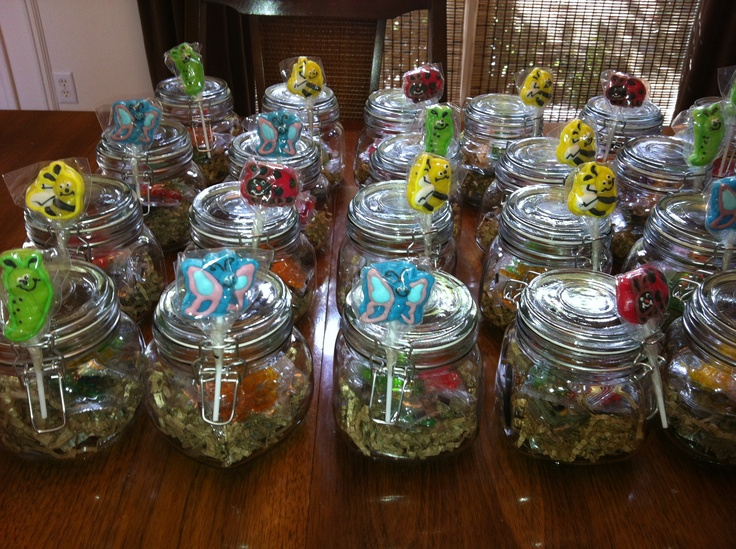 Bug Jar party favors with gummy bugs | Bug Party ...