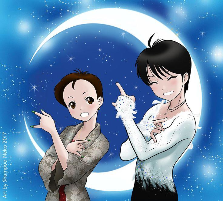 My first Yuzu fanart with his Notte Stellata (The Swan) costume.  Special guest: Evgenia Medvedeva ♥ #羽生結弦 #YuzuruHanyu