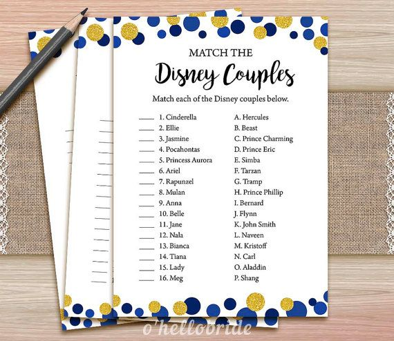 Disney Couples Match Game Printable Navy Blue Gold by ohellobride