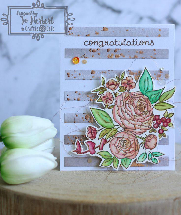 The beautiful union of two people in love is one worth celebrating and today, Jo shares her latest creation with us. The watercoloured flowers have such a lovely vintage feel to it