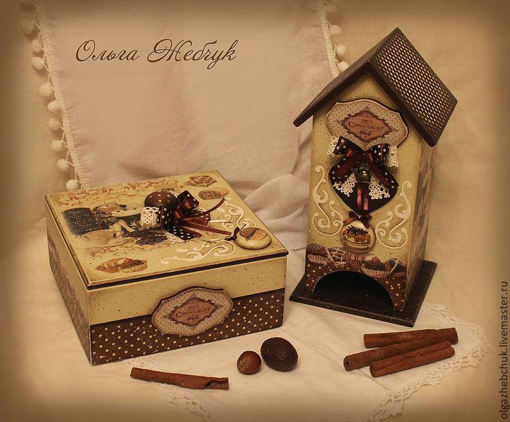 """Чайный набор """" Шоколадный аромат """" - коричневый,чайный домик декупаж,чайный домик"""