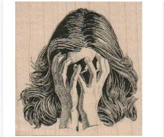 Rubber stamp   woman covering face hands   by pinkflamingo61 (Craft Supplies & Tools, Scrapbooking Supplies, Stamps & Seals, Stamps, Individual Stamps, supplies, scrapbooking, rubber stamp, tag stamp, party favor, woman, ladies, stamping, crazy, hands, mad, sad, face)