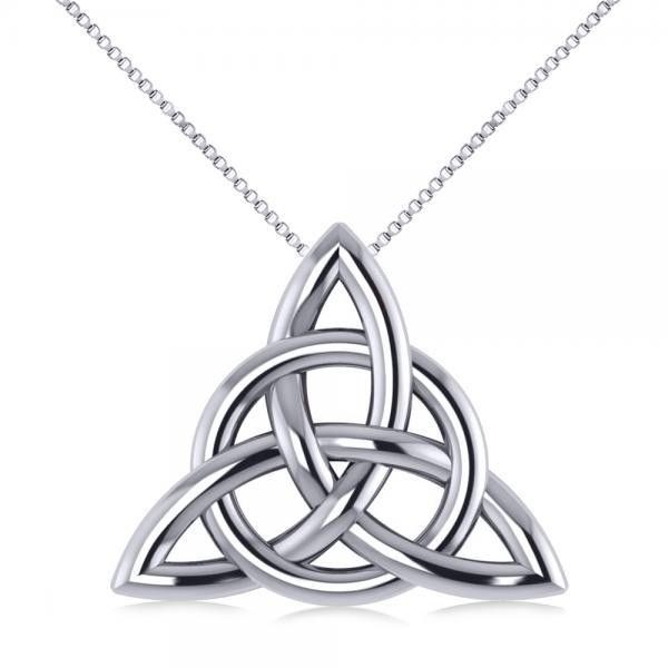 Allurez Triangular Irish Trinity Celtic Knot Pendant Necklace 14k... ($415) ❤ liked on Polyvore featuring jewelry, necklaces, triangle necklace, infinity necklace, white gold necklace, white gold pendant necklace and celtic necklace