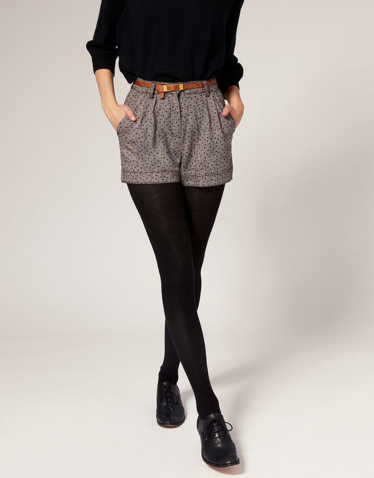 high-waisted, polka dots, pleats, and belt