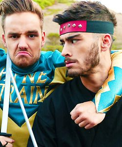 I love how Zayn looks all serious, and then Liam looks like a puppy trying to be mad