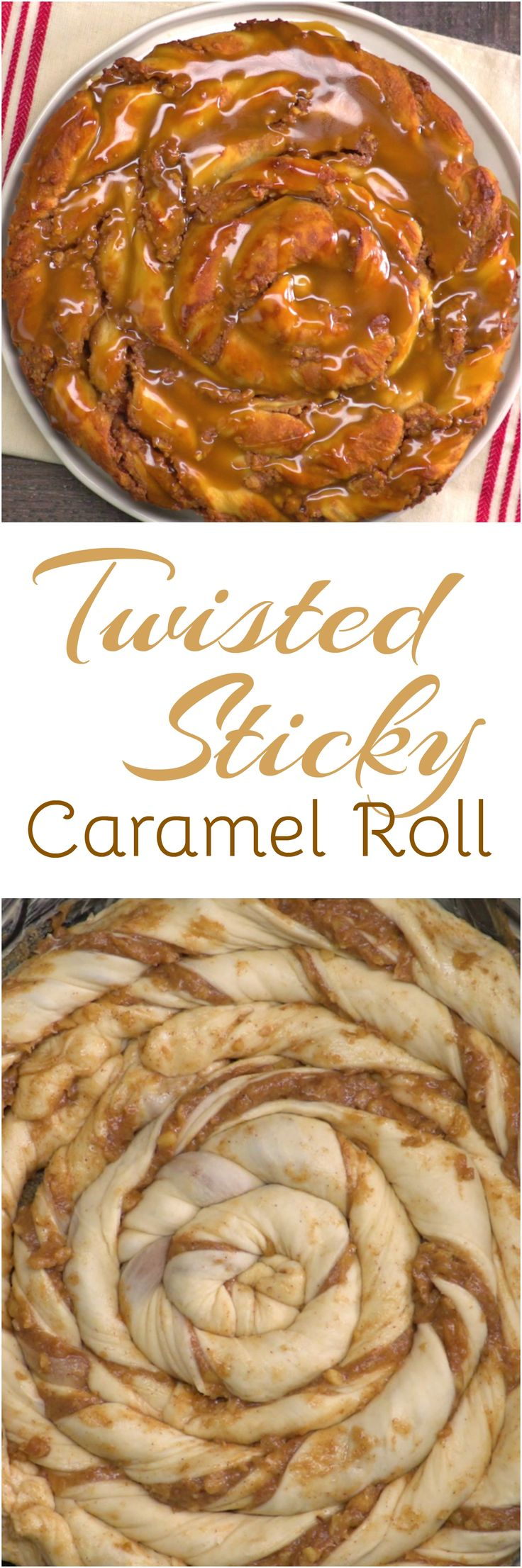 This twisted sticky caramel roll makes waiting for the weekend worth it. Think of this pull-apart breakfast treat as the ultimate sticky bun because you get a little bit of all of the best parts in every bite: the browned edges; the creamy, nutty center; and the soft, fluffy dough saturated with sticky caramel glaze.
