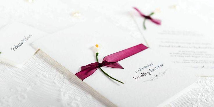 Devotion Handmade Wedding Invitation Design - paper lily and organza ribbon