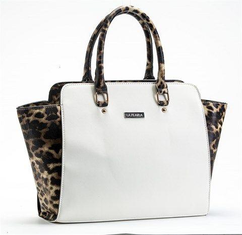 La Pearla White and Leopard Print Trapeze Handbag  r399 La Pearla White and Leopard Print Trapeze Handbag  La Pearla Hidden Leopard Bag  Size 450mm X 300mm  Drop size 450mm Material polyurethane more Brand: La Pearla