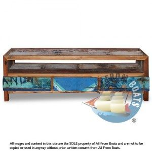 tv board, reclaimed boat timber. Nautical, recycled, reclaimed, boatwood, boat furniture.