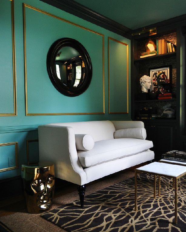 white + black + gold + turquoise walls in living room design by michael herold design