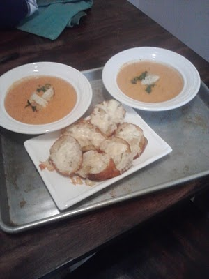 Cream of Fresh Tomato Soup and Parmesan Toasts