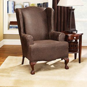 Sofa Tables Sure Fit Stretch Leather Wing Chair Slipcover Brown