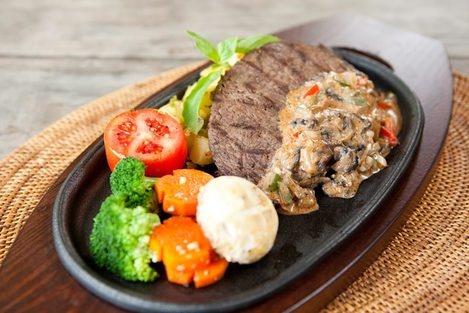 Australian Beef tenderloin  Grilled Australian Beef tenderloin with garden vegetables and grilled tomato.