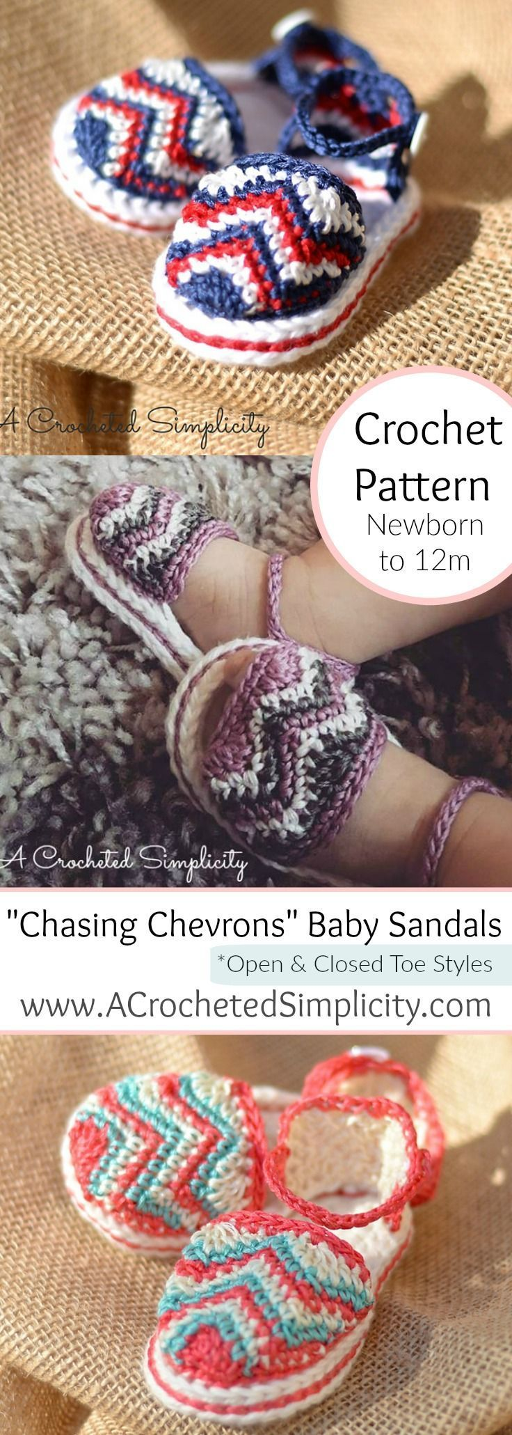 "Crochet Pattern - ""Chasing Chevrons"" Baby Sandals by A Crocheted Simplicity Sizes Newborn thru 12 months"