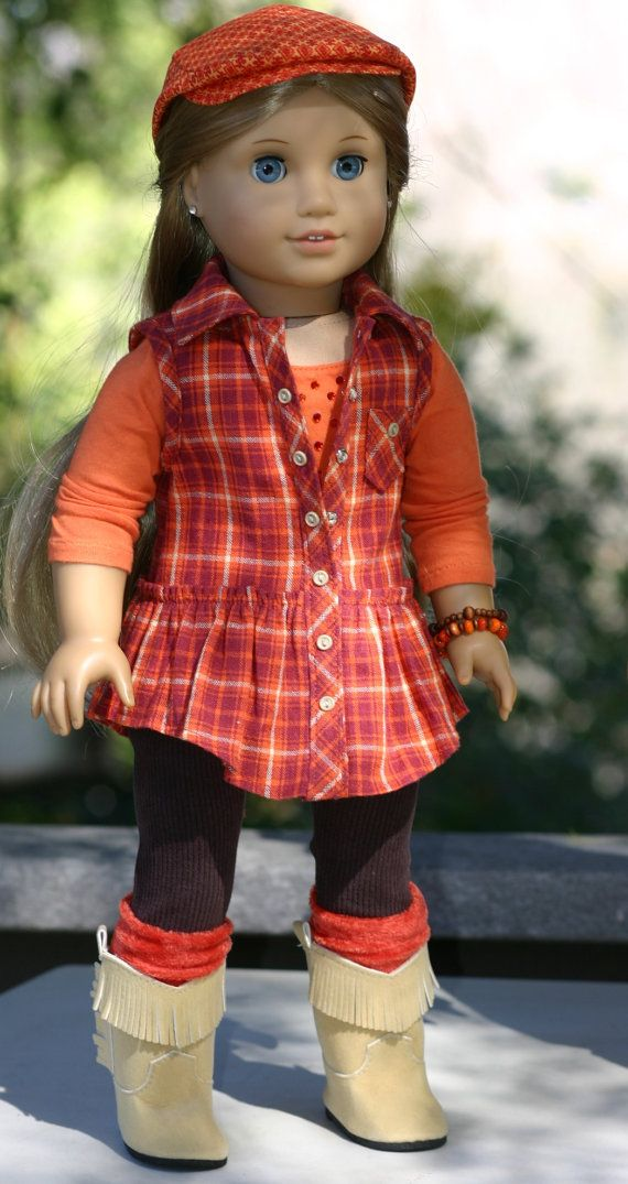 American Girl Doll Clothes- Plaid Tunic Top, Blinged T-shirt, Leggings, Boot Socks, Beaded Bracelets, Gatsby Cap by Doll Closet Heirlooms