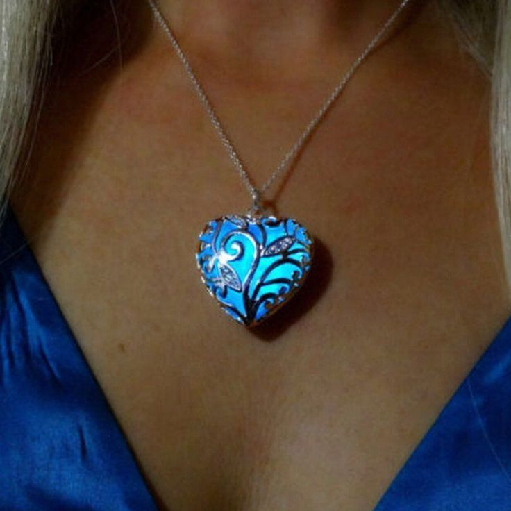 Magical Aqua Blue Love Heart Tree Of Life Glow In The Dark