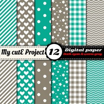 Stripes, hearts, polka dots, stars, gingham, chevron in dark cyan and warm grey colors.12 digital papers.DIGITAL PAPER PACK :- You can print for your scrapbooking projects, cutting, invitation cards ...- You can use for your digital creations, banners design, background image for your blog ...FORMAT:-:-:-:-:-:-:-:-:-:-:-:-:-:-:-:-:-:-:-:-:-:-:-:-:-:-:-:-:-:-:-:-:-:-:-:-:-:-:-:-:-:-:-:-:-:-:-:A4 and 12x12 inchesJPG files high quality 300 dpiSuitable for digital use or printing.YOU WILL…