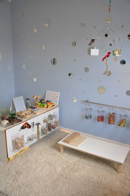 Play At Home Mom: Playroom - love the mirrors and simple, accessible set ups
