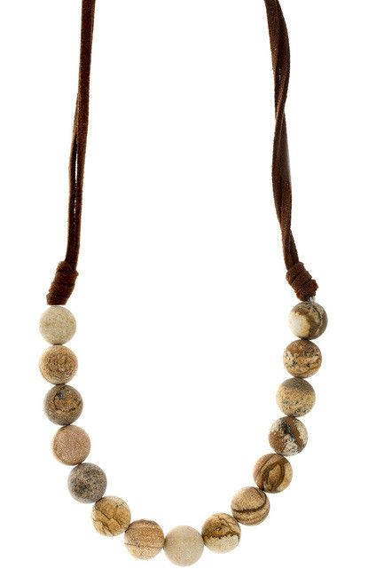 "Victoria Lynn Jewelry  ""Jasper"" Gemstone Suede Choker from High Stylin' Boutique"