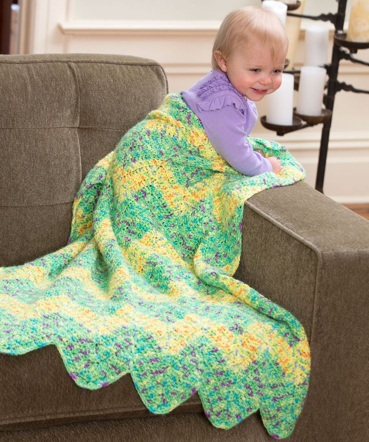 Chevron Baby Blanket Free Crochet Pattern from Red Heart Yarns