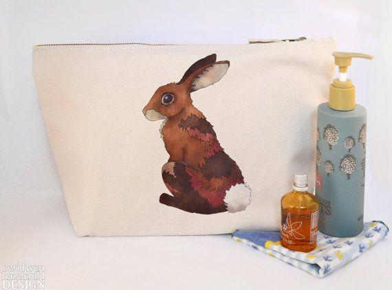 Rabbit Canvas Wash Bag Large Zipper Pouch Makeup Bag Toiletry Bag Accessory Bag by ceridwenDESIGN http://ift.tt/1SEGMJc
