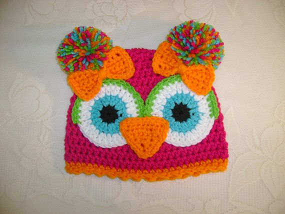 Pink and Orange Crochet Owl Beanie  Available in by BusterBrowns, $12.50