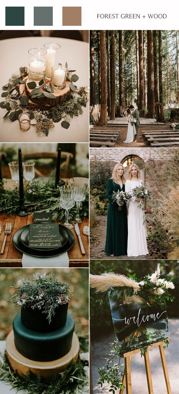 Forest Green And Wood Rustic Wedding Colors Wedding Theme Colors Fall Wedding Color Schemes Fall Wedding Colors